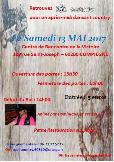 Bal COOL COUNTRY Compiègne (60) le 13 mai 2017